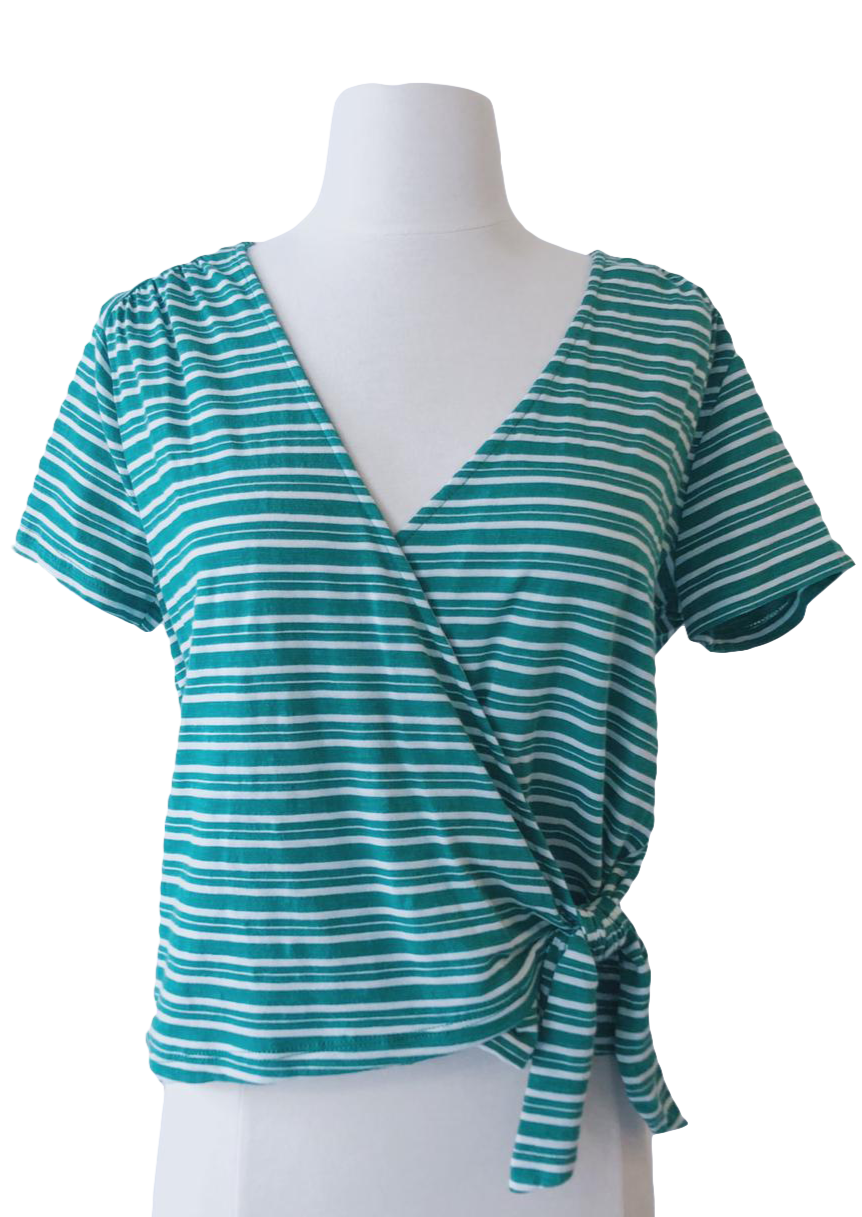 Green and White Striped Surplice Tie Tee - Accents Dallas