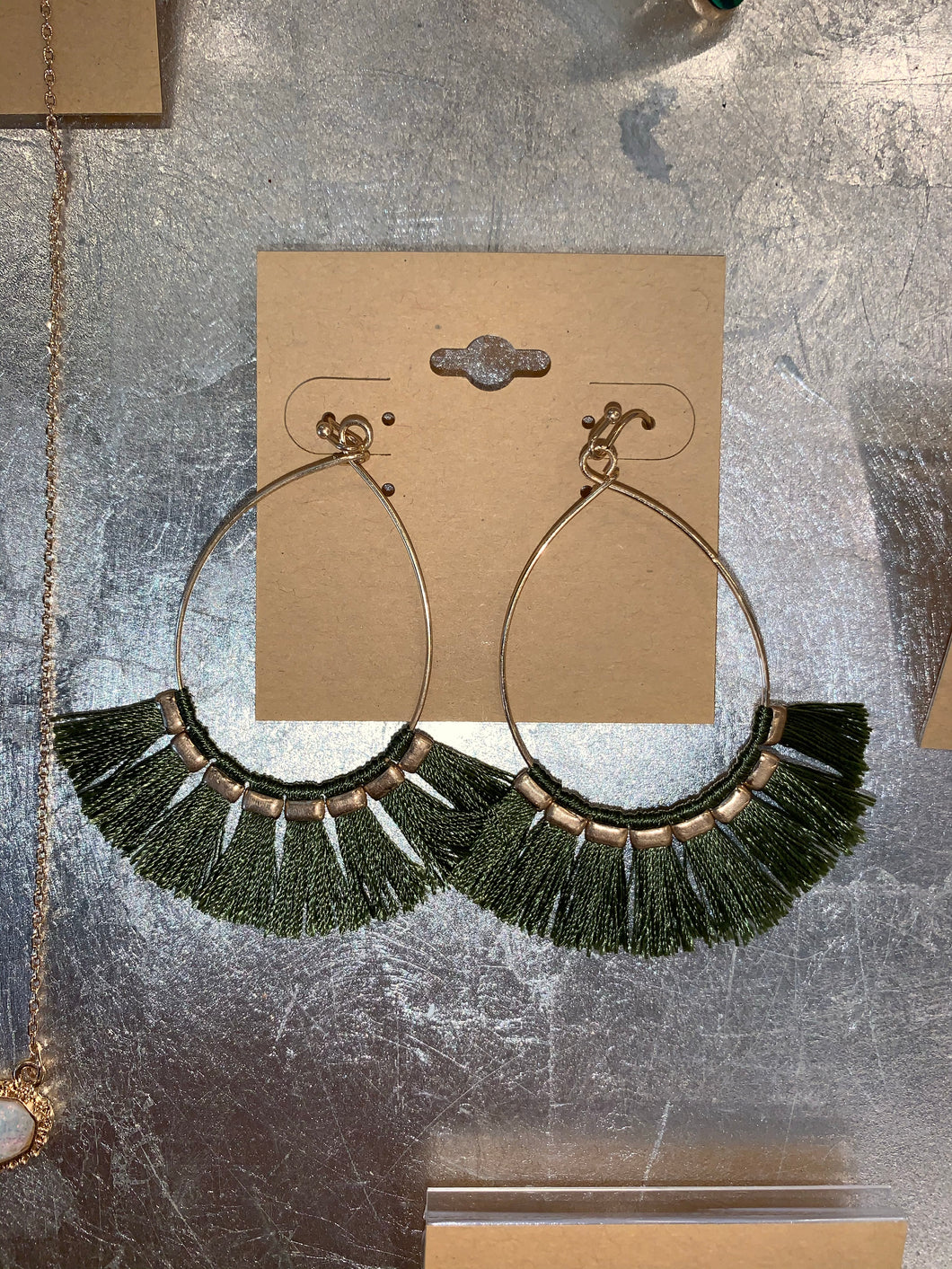 Olive Fringe Earrings - Accents Dallas