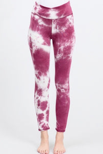 Berry Ivory Tie Dye Leggings - Accents Dallas
