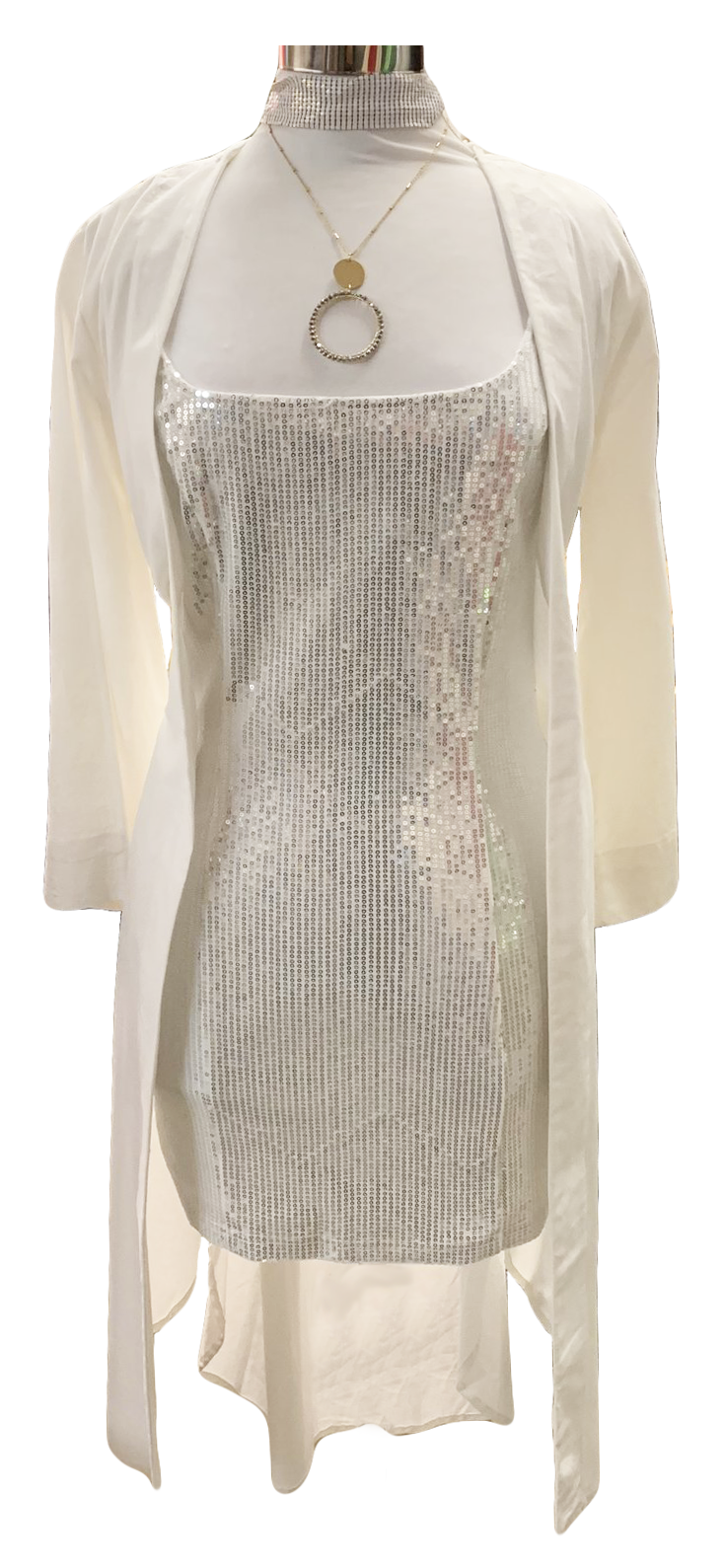 silver sequins party dress