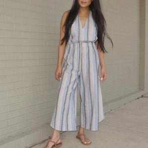 Boho Striped Linen Jumpsuit - Accents Dallas
