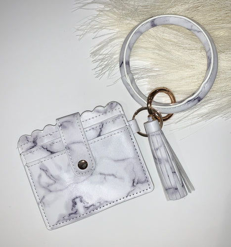 White Marble Key Ring with Wallet