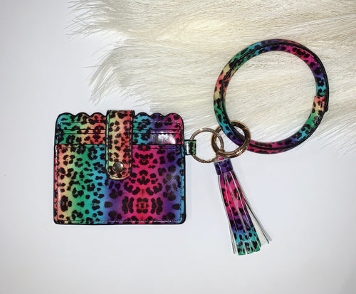 Colorful Leopard Key Ring with Wallet