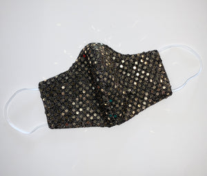 Black Gold Sequins Face Mask