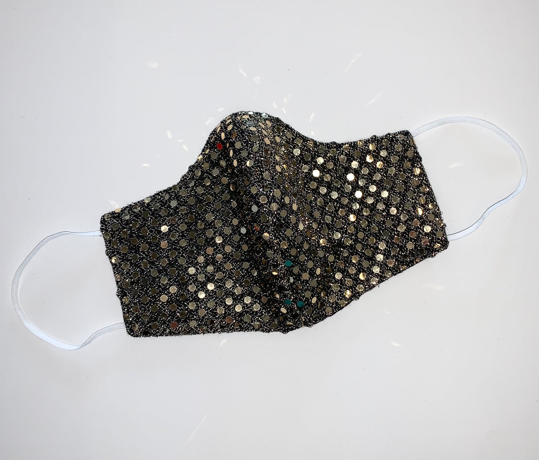 Black Gold Sequins Face Mask - Accents Dallas