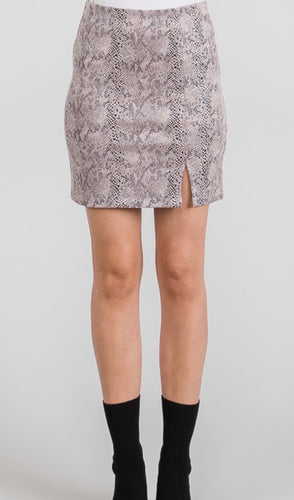 Mauve Snakeskin Mini Skirt