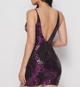 Purple Deep V Mini Sequin Dress
