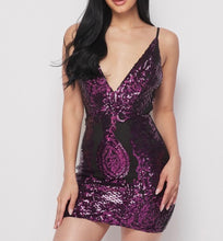 Load image into Gallery viewer, Purple Deep V Mini Sequin Dress