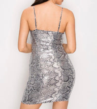Load image into Gallery viewer, Snakeskin Sequins Mini Dress