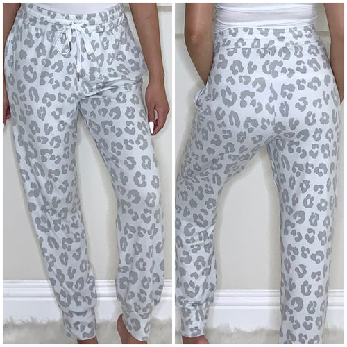 Grey Leopard Joggers - Accents Dallas