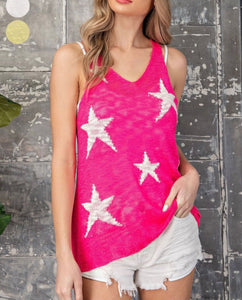 hot pink star racerback top