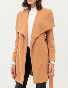 Camel Wide Collar Waist Tie Coat