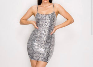 Snakeskin Sequins Mini Dress