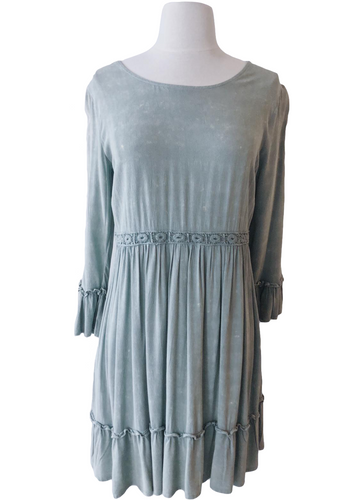 Sage Green Lace Up Babydoll Dress - Accents Dallas