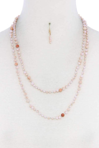 Beaded Fashion Long Necklace And Earring Set - Wild Within