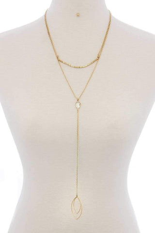 Cutout Pointed Oval Y-shaped Layered Long Necklace - Wild Within
