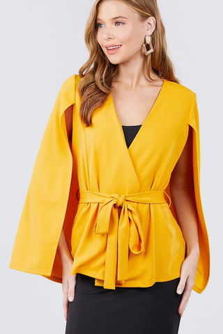 Open Peaked Front W/belt Detail Cape Jacket - Wild Within