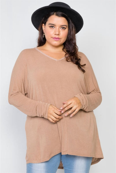 Plus Size Basic Over Sized Long Sleeve Top - Wild Within®