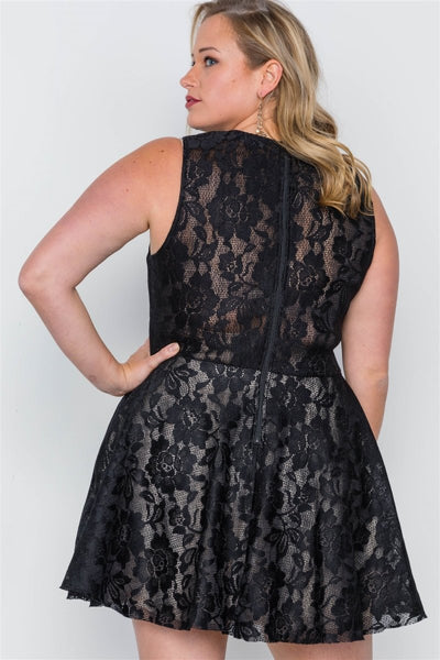 Plus Size Black Floral Lace Mini Skater Dress - Wild Within®