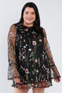 Plus Size Floral Mix Sheer Mock Lace Neck Mini Dress - Wild Within®