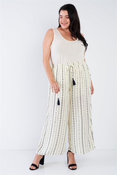 Plus Size Ivory Navy Blue Bohemian Print Self Tie Tassel Pant - Wild Within®
