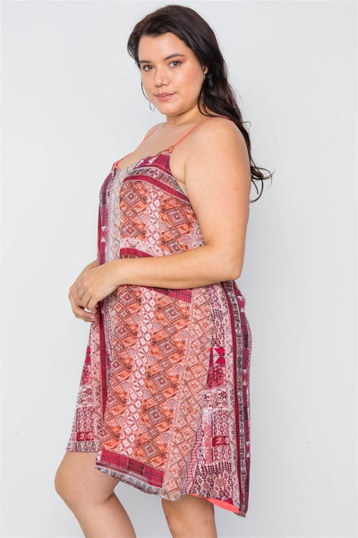Plus Size Multi Coral Cami Slip Mini Dress - Wild Within®