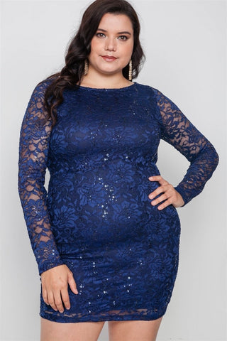 Plus Size Navy Lace Open Back Bodycon Mini Dress - Wild Within®