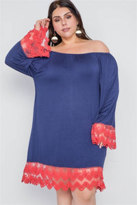 Plus Size Off-the-shoulder Lace Hem Dress - Wild Within®