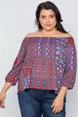 Plus Size Off-the-shoulder Multi Print Top - Wild Within®