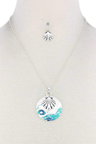 Seashell Round Metal Pendant Necklace - Wild Within®