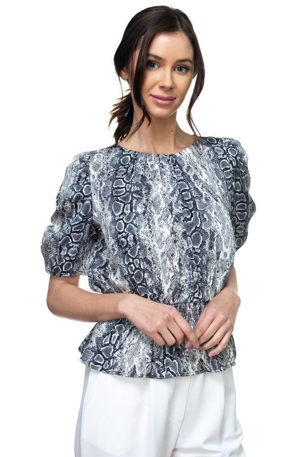 Short Sleeve Smocked Waist Blouse - Wild Within
