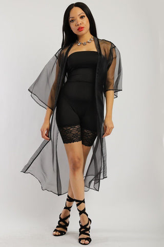 Solid, Organza Chiffon Cardigan With Open Front, Kimono - Wild Within