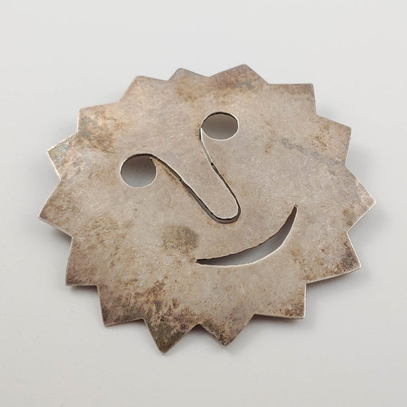 French Smiling Sun Face Silver Brooch