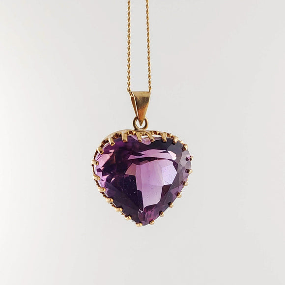 Heart-shaped Amethyst Gold Necklace