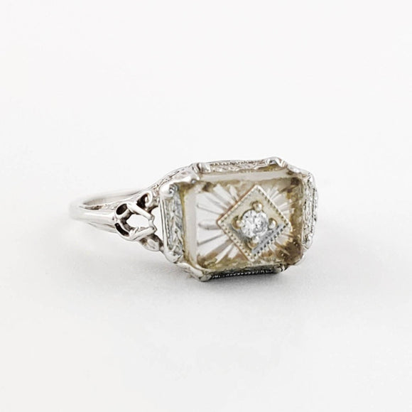Diamond set in Quartz Gold Ring, Art Deco