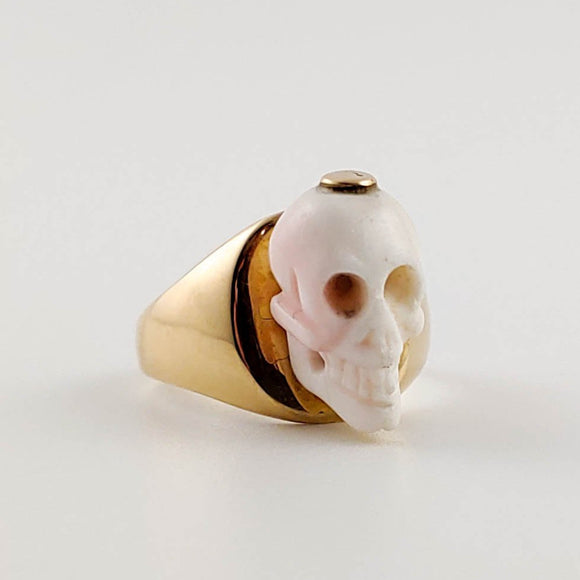 Georgian Memento Mori Skull Bead Mounted on 14k Gold Ring