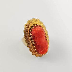 Georgian Coral Cameo Gold Ring