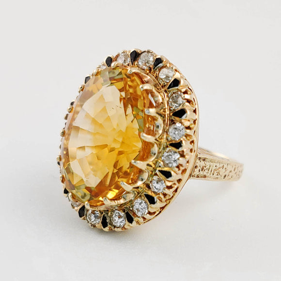 Victorian Citrine, Diamond and Enamel Ring