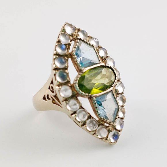 Rare citrine, aquamarine and moonstone ring