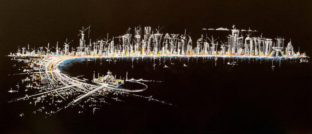 "Doha Corniche in Black"" Limited Edition Paper/Canvas Print"