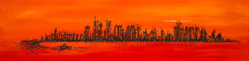 """Doha Skyline in Orange"" Limited Edition Canvas Print"