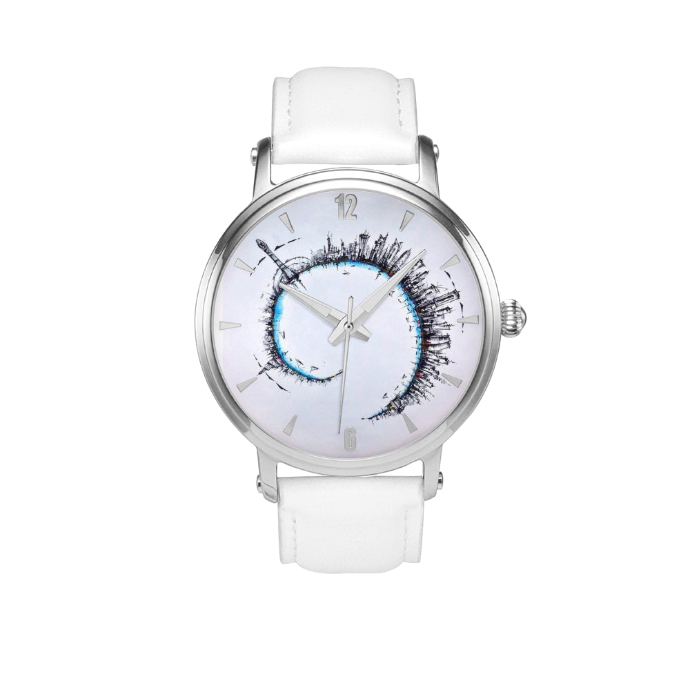 """Doha Spiral"" Unisex Designer Stainless Steel Watch with Leather Band (white/black)"