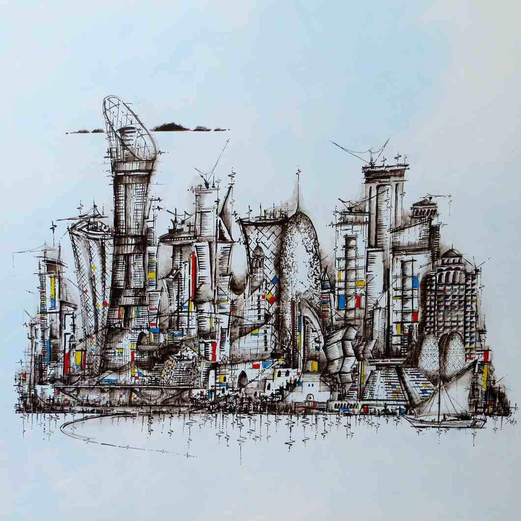 """Doha Buildings"" Limited Edition Signed Print"