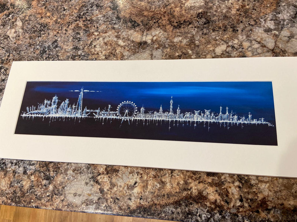 London Skyline at Midnight- Small Mounted Print