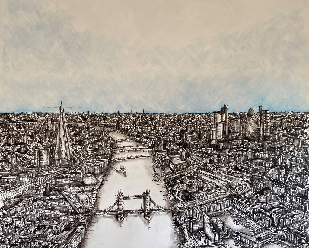 Over the Thames- Small Mounted Print
