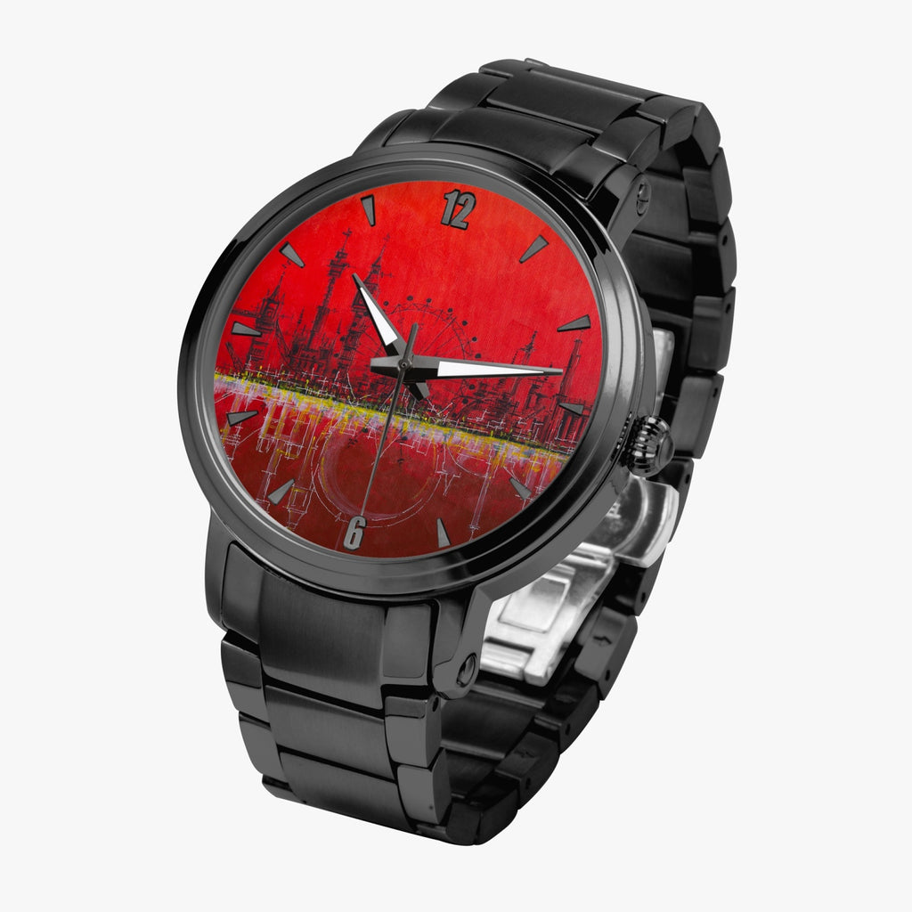 """Blood Moon"" Unisex, Automatic Stainless Steel Designer Watch (black/gold/silver)"