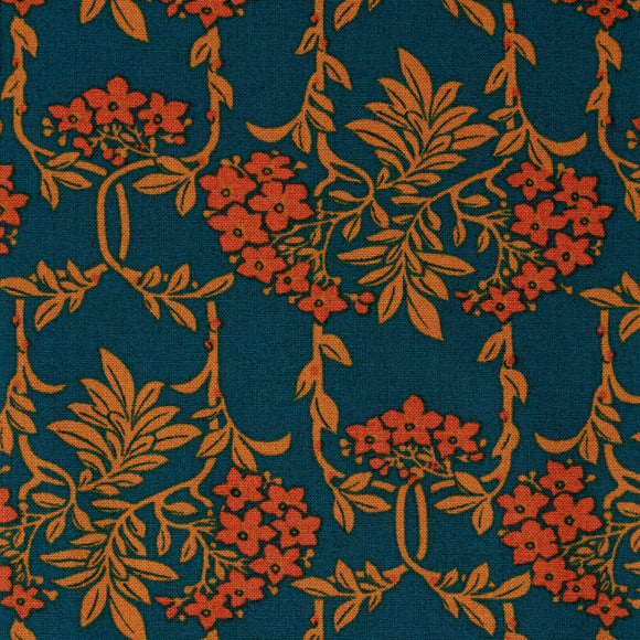 Liberty Of London - Nouveau Mayflower Quilting Cotton Fabric - Orange - 1/2 Yard