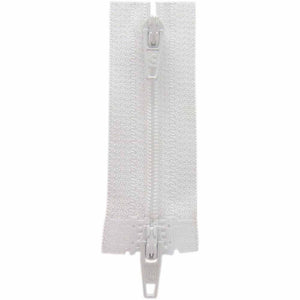 Two Way Separating Zipper - Lightweight Nylon Coil 60cm (24″) - White