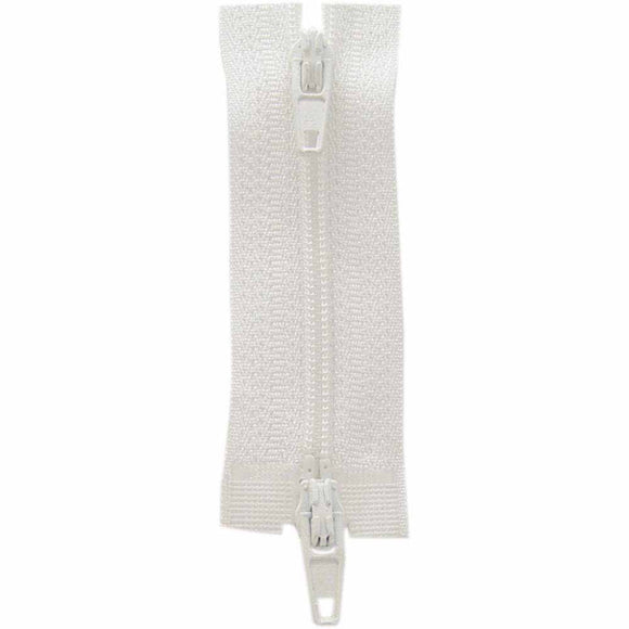 Two Way Separating Zipper - Lightweight Nylon Coil 60cm (24″) - Off White