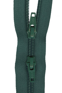 Two Way Close Ended Zipper - Medium Weight Nylon Coil 55cm (22″) - Forest Green